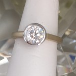 Bezel two tone engagement ring
